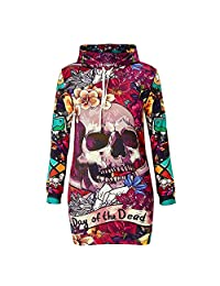 colorful-space Winter Hoodie Sweatshirt Female Skull Dress Vestidos De Festa Robe Femme Clothes