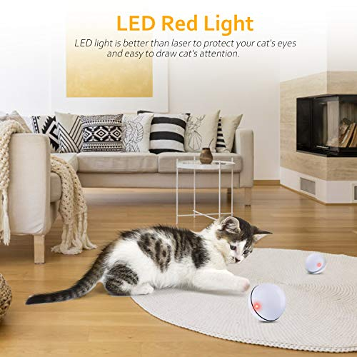 Interactive Cat Toys Ball, Self Rotating Cat Toy, Newest Version USB Rechargeable Pet Toy,Buit-in Spinning LED Light, Stimulate Hunting Instinct for Your Cat/Kitty/Kitten/Pets (White) 6