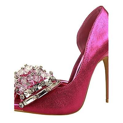 Ggx/femme talons Automne talons/Bout Pointu/robe Stiletto Talon Bowknot Noir/rose/rouge/blanc/argent/doré