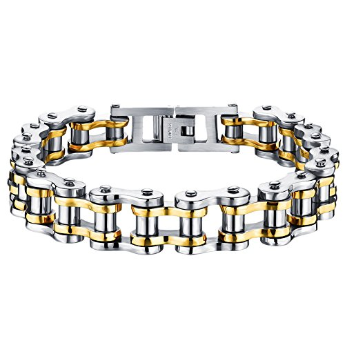 Cupimatch Mens Cool Stainless Steel Motorcycle Biker Chain Bracelet Punk Rock Link Wristband, 8.5