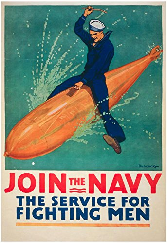 Join the Navy War Propaganda Vintage Ad Poster Print with Hanger