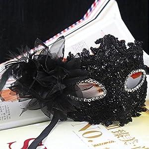 TINKSKY Fleur de Lys Cristal Strass Decor Dentelle vénitien Masque de Mode pour Halloween/Masquerade/Costume Party (Noir…