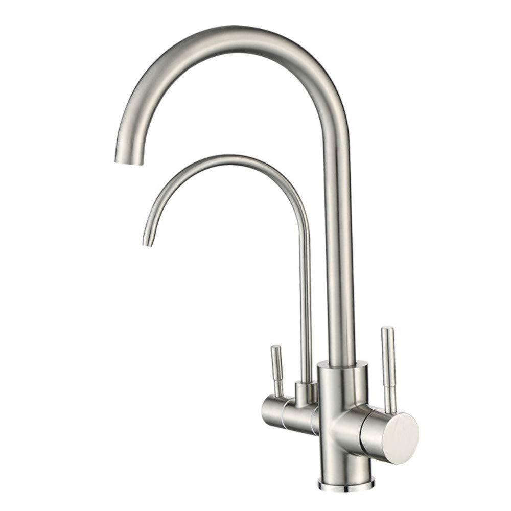 360 ° drehbarer Wasserhahn Retro Wasserhahn 304 Edelstahl Küchenarmatur Kalt-und Warmwasser-Mischbatterie und Wasseraufbereitungsfunktion