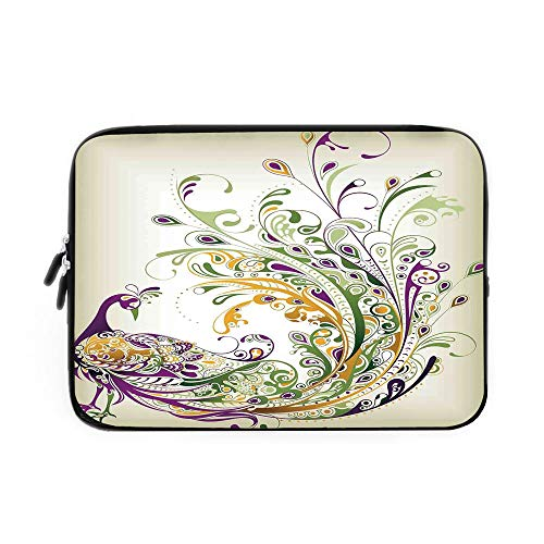 - Abstract Home Decor Laptop Sleeve Bag,Neoprene Sleeve Case/Peacock Bird Tail Feather Plume Paisley Pattern Ornamental Decorating Decorative/for Apple MacBook Air Samsung Google Acer HP DELL L
