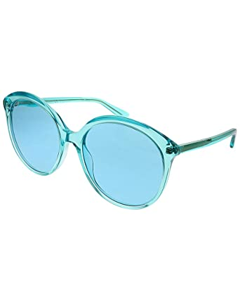 7133a1278ad Amazon.com  Gucci GG0257S Sunglasses 003 Light Blue   Light Blue Lens 59 mm   Clothing