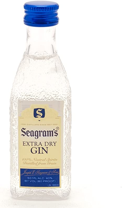 Pack 10 botellitas ginebra Seagrams Extra Dry 50ml miniatures ...
