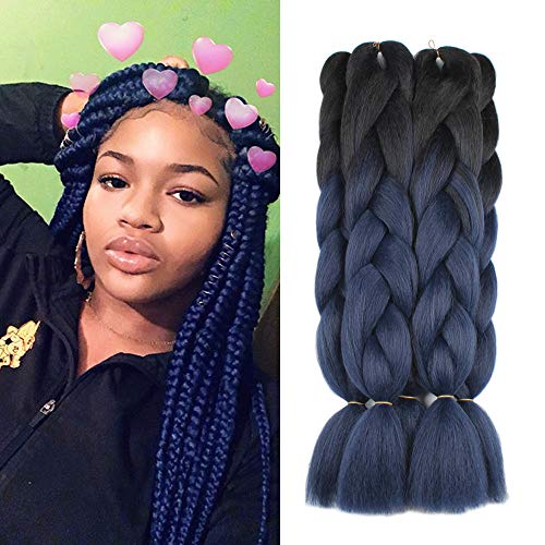 5 Pieces 2 Tone Ombre Braiding Hair Crochet Braids Synthetic Hair Extensions 24 Inch Black/Dark Blue#, - Remy Hair Braiding