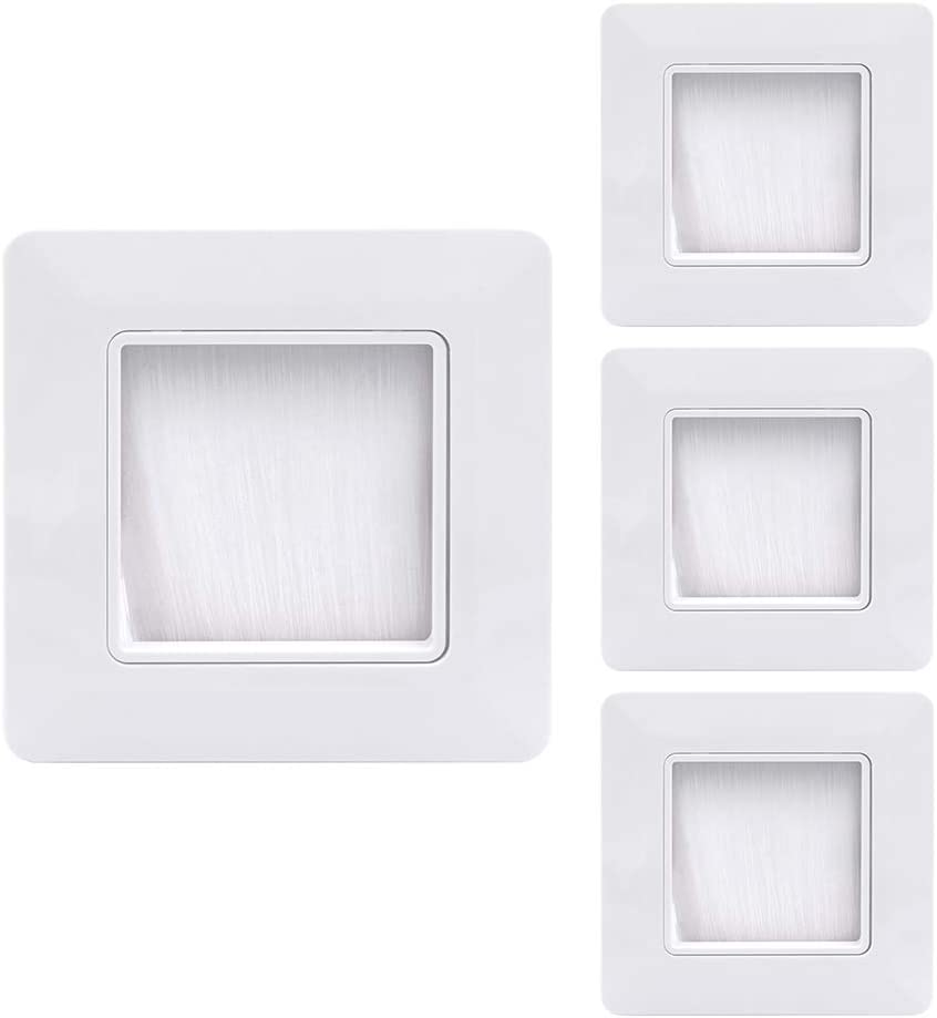 Color Blanco Uso de pasacables VCE 4 Unidades Placa Frontal con cepillos para la Pared