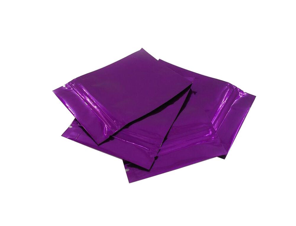 100PCS Thicken Double-Sided Metallic Mylar Foil Self Sealing Flat Bag Zipper Pouch Food Grade Sample Packing Storage Holder Container for Cosmetic Tea Powder (Purple, 85mm x 130mm)