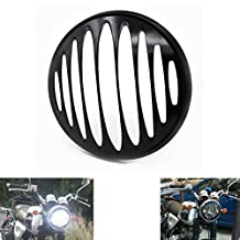 "Alpha Rider 7"" Headlights Aluminum Deep Cut Black Grill Cover Case for Harley Touring Road King Classic FLHRC 2007-2013 