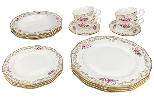 Majestic Porcelain 6417, 24K Gold-Plated Dinnerware Set, Dinner Service for Four, 20-Piece Set: 4 Dinner Plates, 4 Soup Plates, 4 Dessert Plates, 4 Tea Cups with 4 (24k Gold Soup Plate)