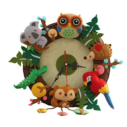 Flameer DIY Felt Craft Material Clock Felt Applique Ornament Kit Home Wall Hanging Decoration - Forest Animals