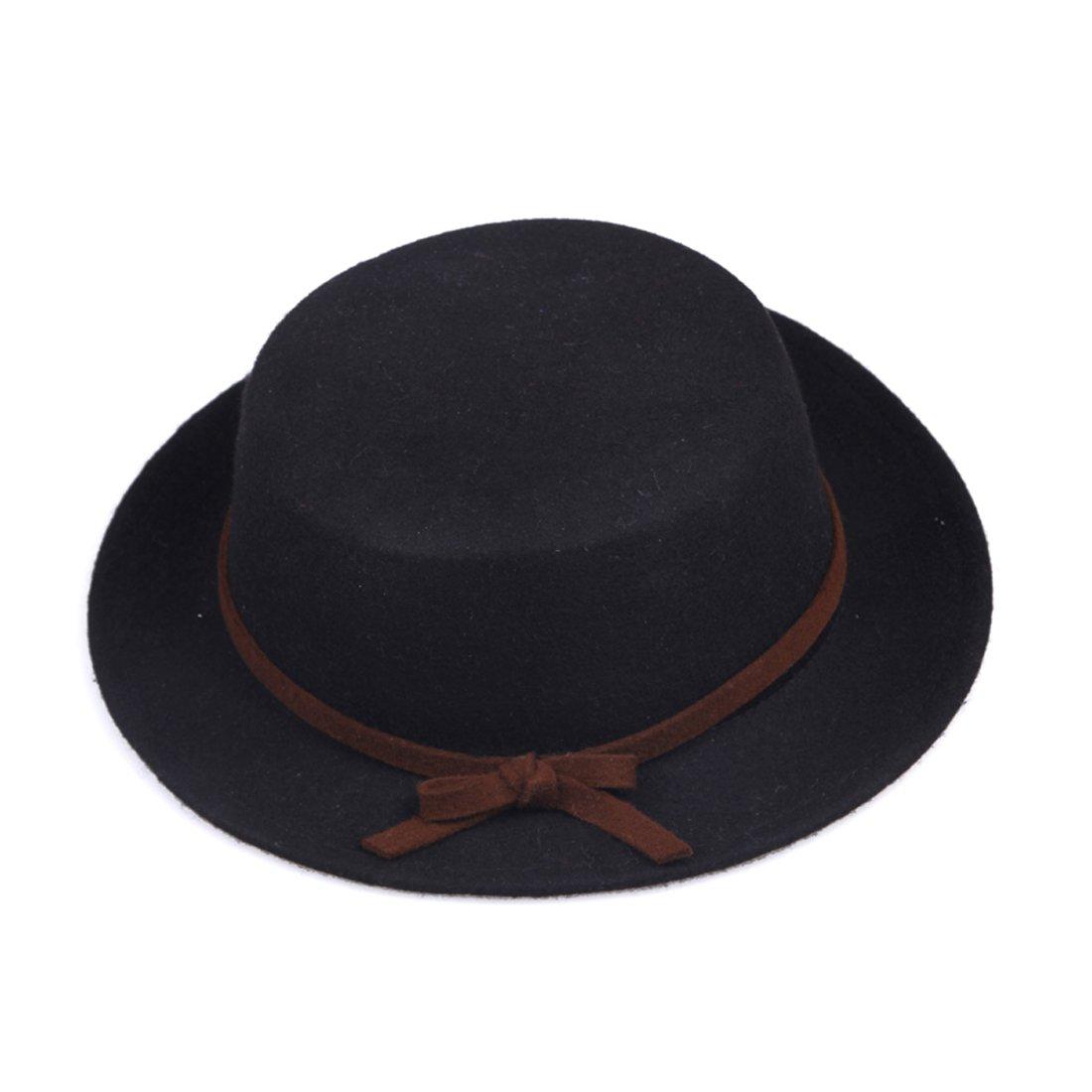 JTC Wool Bowler Flat Hat Bucket Cap Bowknot Short Brim Derby 1pcs