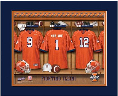 NCAA Locker Room Print Illinois Illini Football Personalized Framed - Illinois Illini Locker Room Fighting