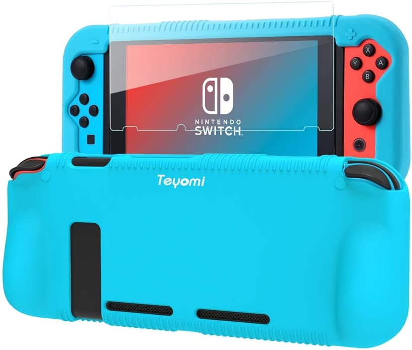 Teyomi Protective Silicone Case for Nintendo Switch, Grip Cover with Tempered Glass Screen Protector, 2 Storage Slots for Game Cards, Shock-Absorption & Anti-Scratch (Blue)