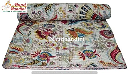 Christmas Hub Cotton Indian Handmade Kantha Quilt Throw Twin Blanket Bed Cover