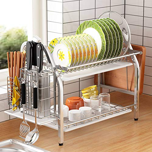Dish Drying Rack, 1Easylife 2 Tier Dish Rack Stainless Steel with Utensil Knife Holder and Cutting Board Holder Dish Drainer with Removable Drain Board for Kitchen Counter Organizer Storage (Silver)