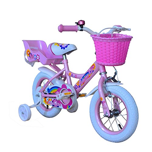 OTLIVE Girls Bikes 12 inch with Training Wheels and Basket Pink