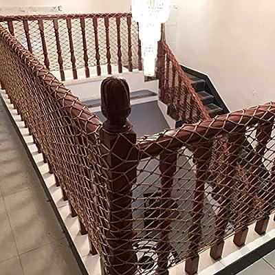 HQPCAHL Red de Seguridad Balcón extraíbley Red de Seguridad de la Escalera, Red Segura del Acoplamiento del Carril de, niños/Juguete/Seguridad del Animal doméstico,Marrón,200 * 100CM: Amazon.es: Deportes y aire libre