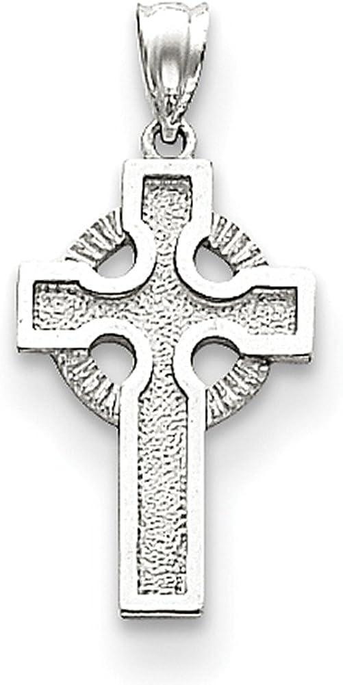 Lex /& Lu 14k White Gold Celtic Cross Pendant LAL74835