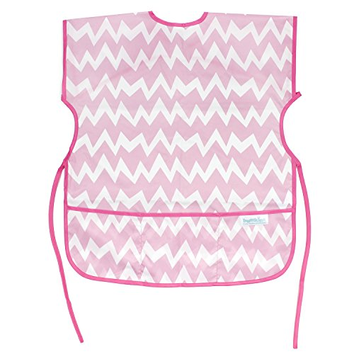 Bumkins Short Sleeved Art Smock, Pink Chevron (3-7 Years) by Bumkins