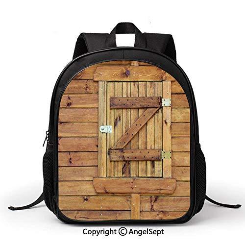 (Fashion Kids Backpack Children Bookbag Closed Wooden Shutters Planks Rough Grunge Countryside Classical Design PrintGolden and Oak Hot Sale Preschool Kindergarten School Travel Bag for Girls )