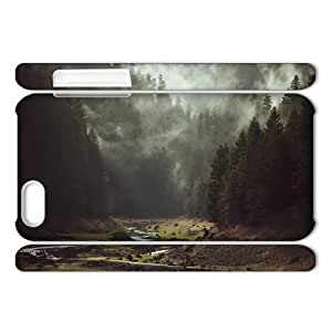 3D fashion case Arts iphone 6 4.7 Cases Foggy Forest Creek, Girly Protective Arts, {White}