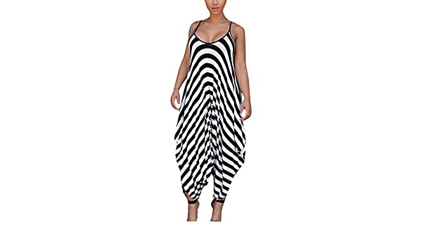 Luluka Womens Spaghetti Strap Hollow Out Front Striped Rompers Wide Leg Jumpsuits