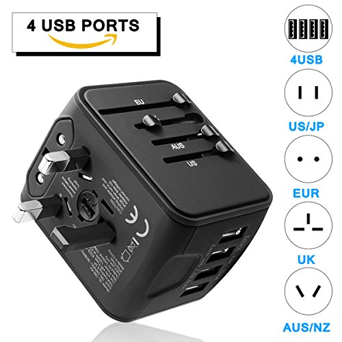 GINDOLY Travel Adapter, 4USB Ports International Power worldwide all in one universal Adapter High Speed Charger AC Wall Outlet Plugs for Italy Europe Asia South Africa Thailand UK AUS 170 - South Outlets