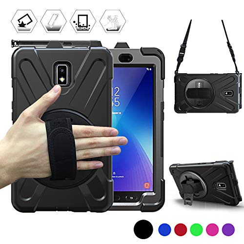 Galaxy Tab Active 2 Case, BRAECN Heavy Duty Shockproof Case with 360 Degree Rotating Handle Hand Strap/Kickstand and Carrying Shoulder Strap for Samsung Tab Active 2 8.0 Inch 2017 Model Tablet-Black
