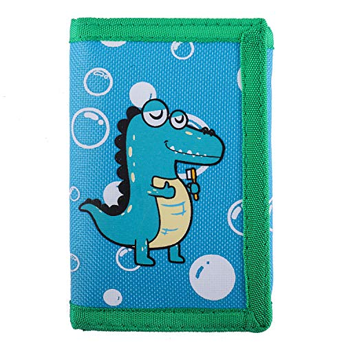 RFID Blocking Wallet for Kids / Slim Cartoon Wallet with Zippered Pocket / Trifold Canvas Outdoor Sports Wallet , Dinosaur ()