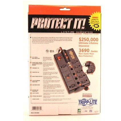 037332095329 - Tripp Lite 8 Outlet Surge Protector Power Strip, 10ft Cord Right Angle Plug, Tel/Modem/Coax/Ethernet, & $250K INSURANCE (TLP810NET) carousel main 3