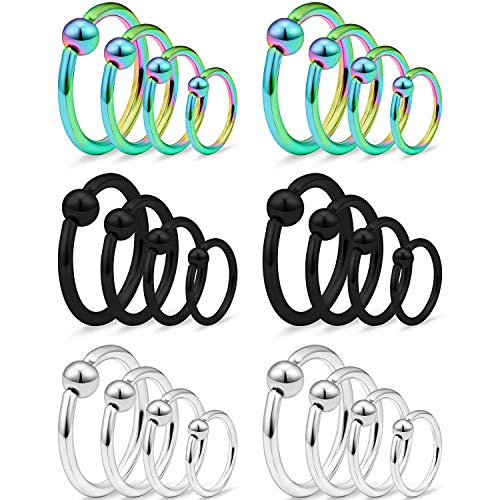 Ftovosyo Tragus Hoop Earrings Surgical Steel 16g Captive Bead Ring Lip Septum Hoops Body Piercing Jewelry for Women Men 24 Pieces 10mm 12mm 14mm 16mm Silver-Tone Rainbow Black
