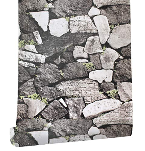 HaokHome 620521 Faux Rock Stone Peel and Stick Wallpaper Gray/Green Self Adhesive Contact (Self Adhesive Print)