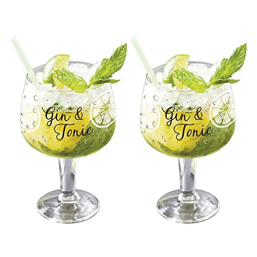 Set of 2 Large Decorated Copa Gin & Tonic G&T Balloon Glasses 22 floz