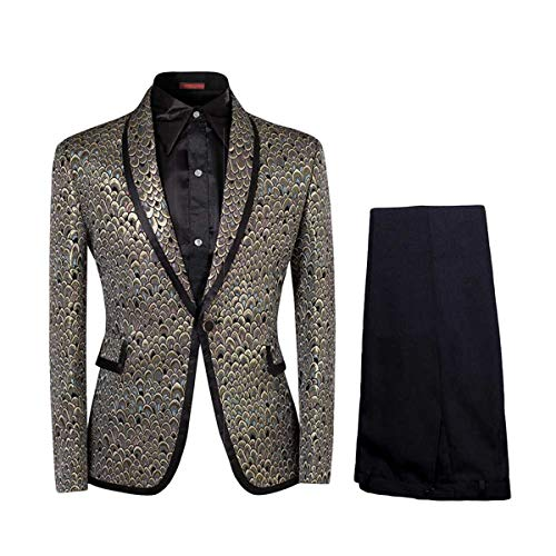 Men Notched Lapel Center-Vent One-Button Blazer Suits Jackets & Trousers, Golden, Large from Cloudstyle