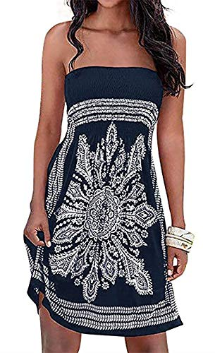 Cover-up Dress for Women Mini Boho Print Sleeveless Shift Strapless Long Dress(Black,L)