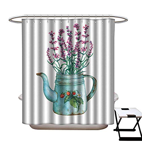 warmfamily Funny Shower Curtain Vintage Blue Metal teapot with Strawberries Pattern and Bouquet of Lavender Flowers Hand Drawn Watercolor Painting on White Background Shower CurtainW54 x L78