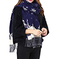 SEXYP Couples Winter Imitation Cashmere Tassels Christmas Snowflakes Warm Scarves (Navy)
