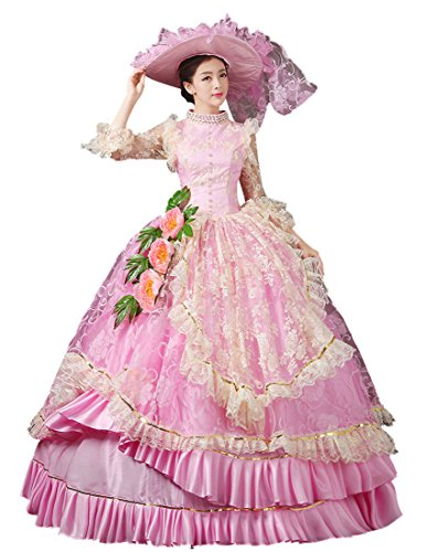 Nuoqi Women's Sweet Pink Lolita Dress European Court Prom Masquerade Costumes by Nuoqi