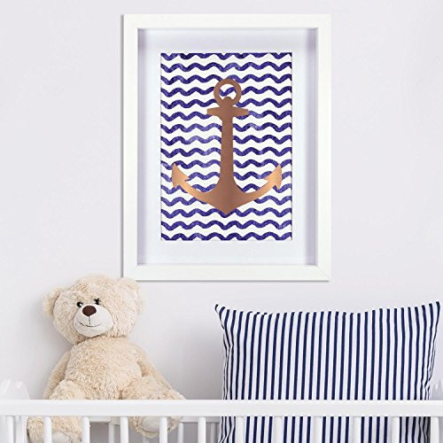 Linden Ave Wall Décor AVE10093 Gold Anchor - Design Chipboard Picture Frame
