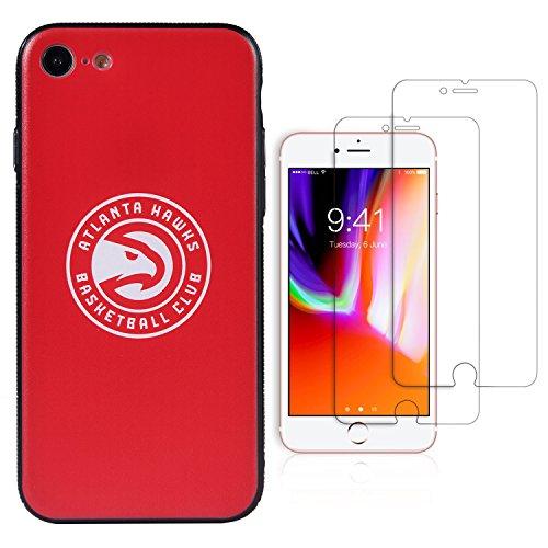 Sportula NBA Phone Case give 2 Tempered Glass Screen Protectors - Extra Value Kit for iPhone 8/iPhone 7 (Atlanta Hawks) - Atlanta Hawks Glass