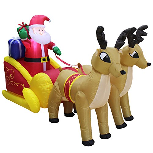 VOCOO Christmas Inflatable Santa in Sleigh With Reindeer Outdoor art Decoration by VOCOO (Image #5)