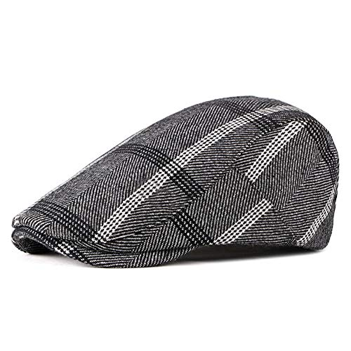 (ZLSLZ Mens Woolen Tweed Adjustable Plaid Ivy Newsboy Cabbie Gatsby Golf Beret Flat Hat Cap (One size, 330Black))
