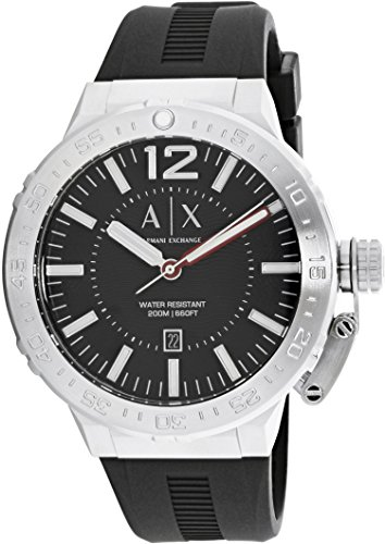 Armani Exchange Men's AX1810 Stainless Steel Black Silicone Watch