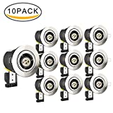NONMON 10 Pack Fire Rated Downlights, GU10 Tiltable Recessed Ceiling Light Cans Brushed Nickel