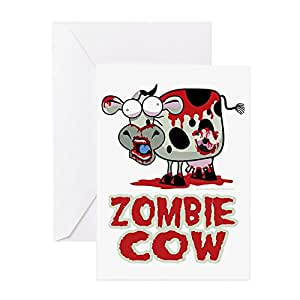 Amazon cafepress zombie cow greeting card note card cards m4hsunfo