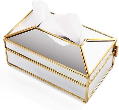 Estilo europeo de metal espejo caja de pañuelos restaurante cocina extraíble servilletero de papel decoración para el hogar, dorado: Amazon.es: Hogar