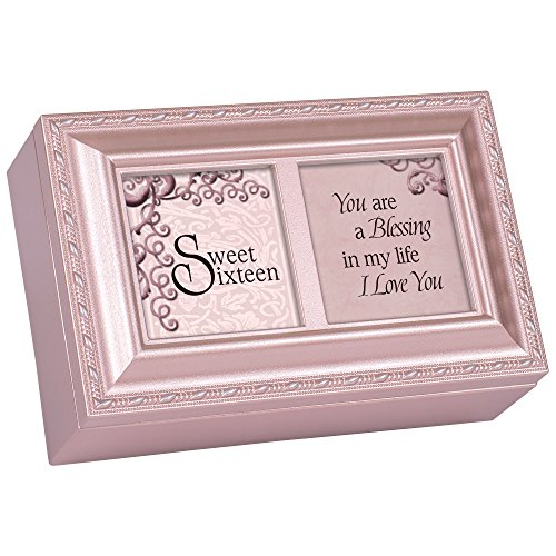 (Cottage Garden Sweet Sixteen You are a Blessing Matte Pink Jewelry Music Box Plays You Light Up My Life)