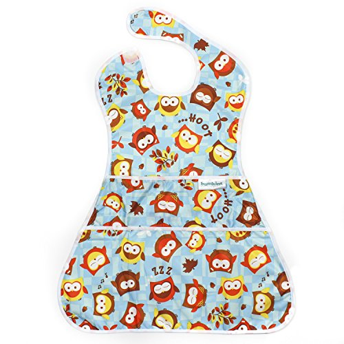 Bumkins SuperSized SuperBib, Oversized Baby Bib, Waterproof, Washable, Stain and Odor Resistant, 6-24 Months - Blue Owl ()